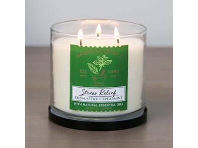 <Огляд свічки з трьома гнотами Aromatherapy Stress Relief від Bath & Body Works